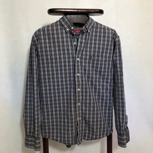 Izod plaid long sleeve button casual shirt size L